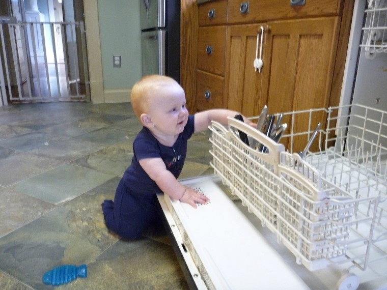 I'm here to help unload the dishwasher. I'll get the knives!