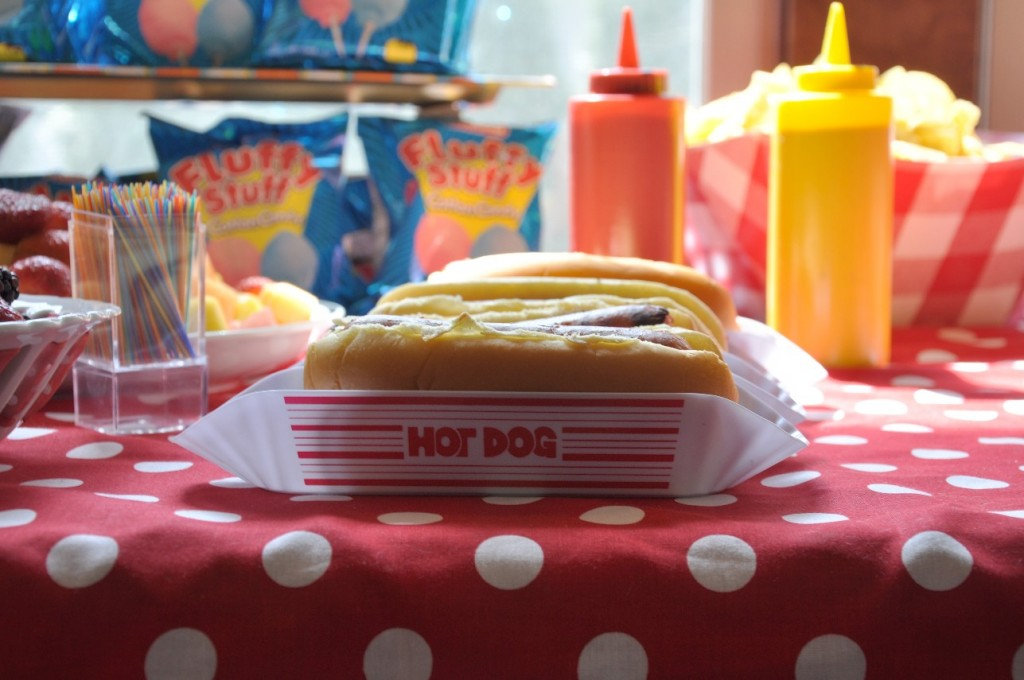 circus birthday party food hot dog
