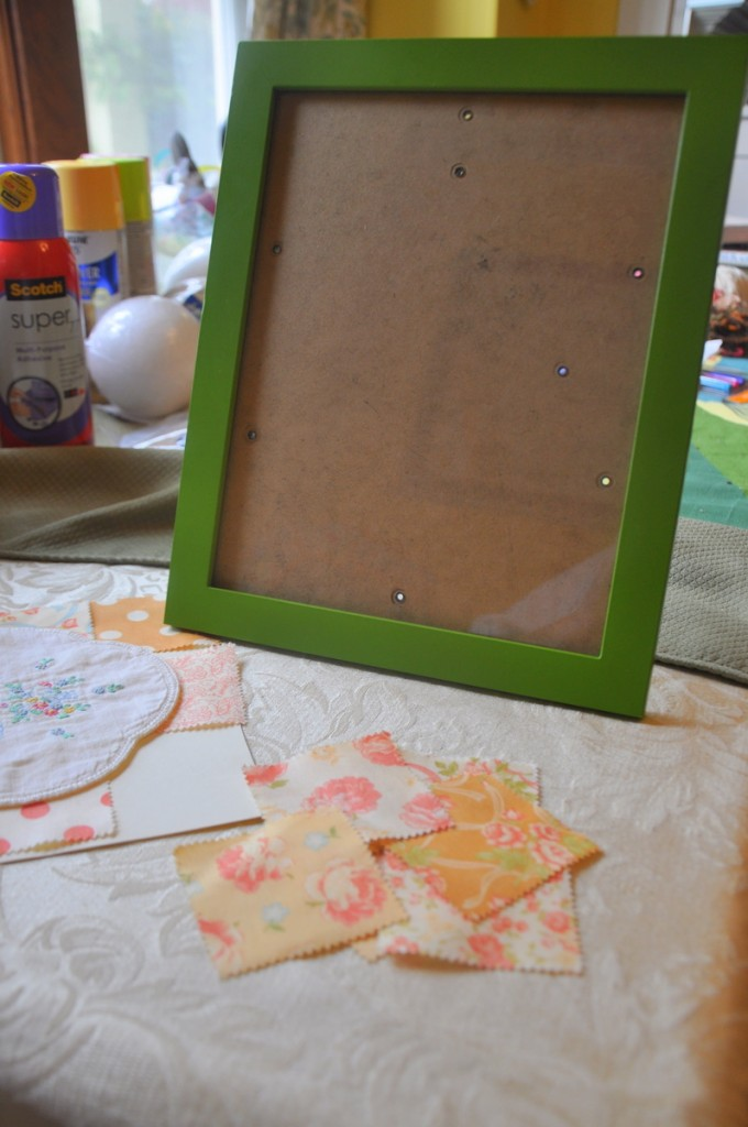 framed vintage bib DIY