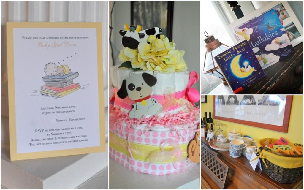 nursery rhyme baby shower invitation diaper cake