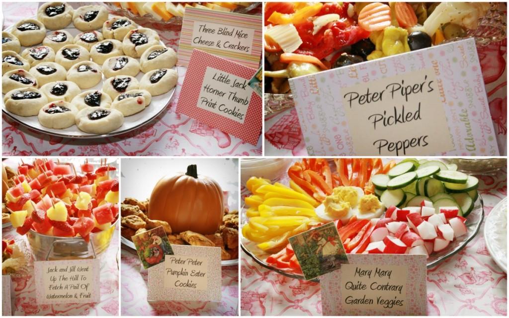 nursery rhyme baby shower food humpty thumb print cookies pumpkin muffins