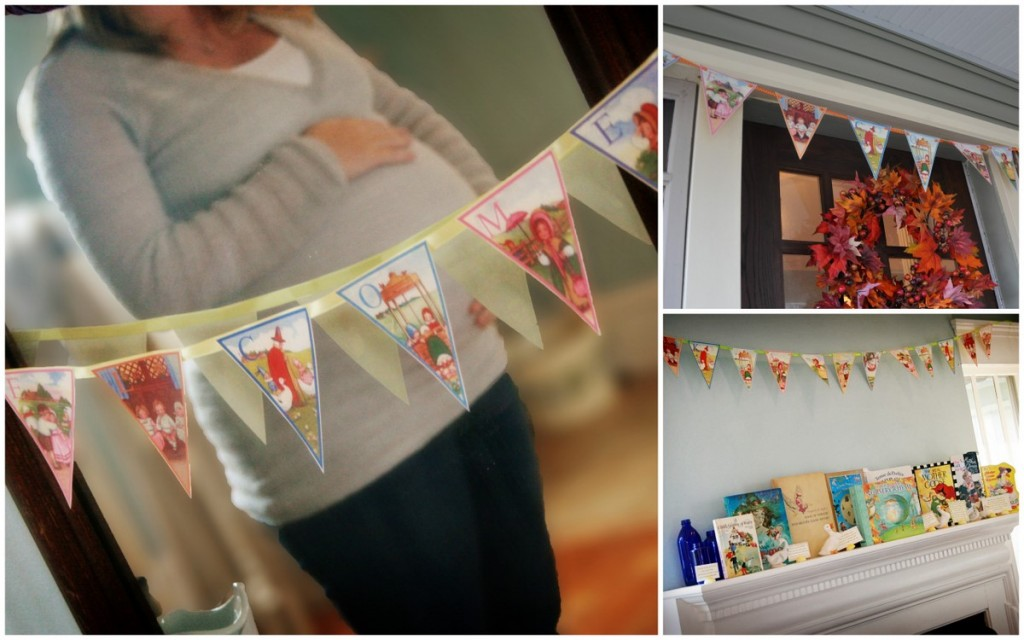 nursery rhyme baby shower books banner penant