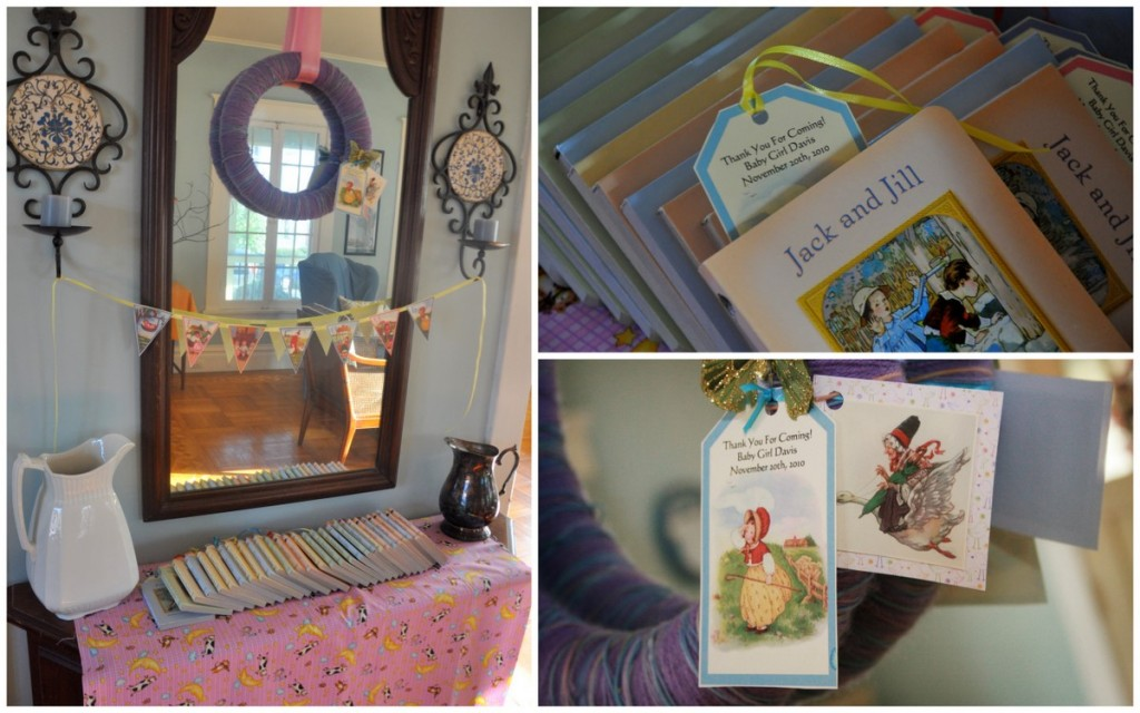nursery rhyme baby shower books as favors