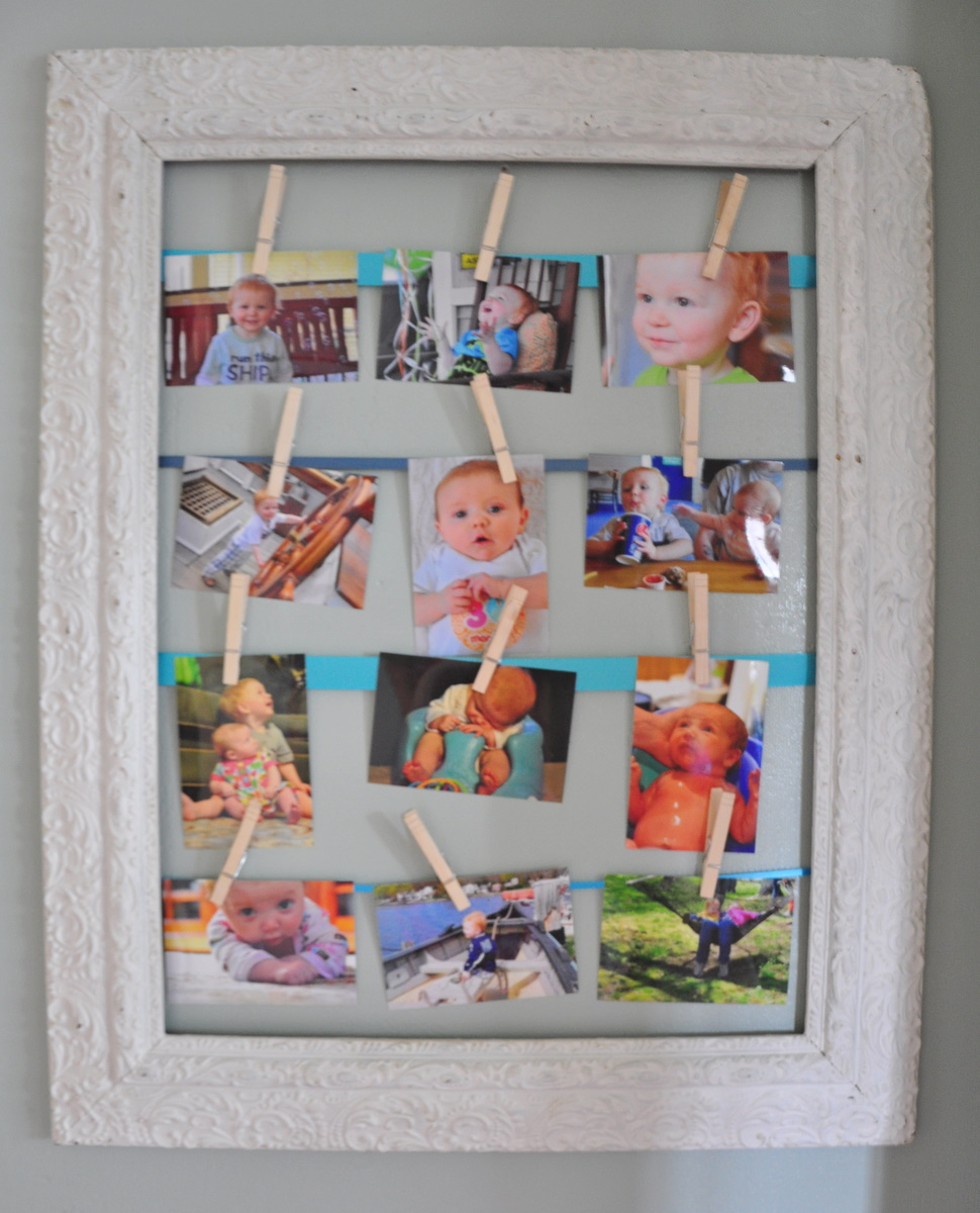 Picture Frame Clothes Pin Photo Display