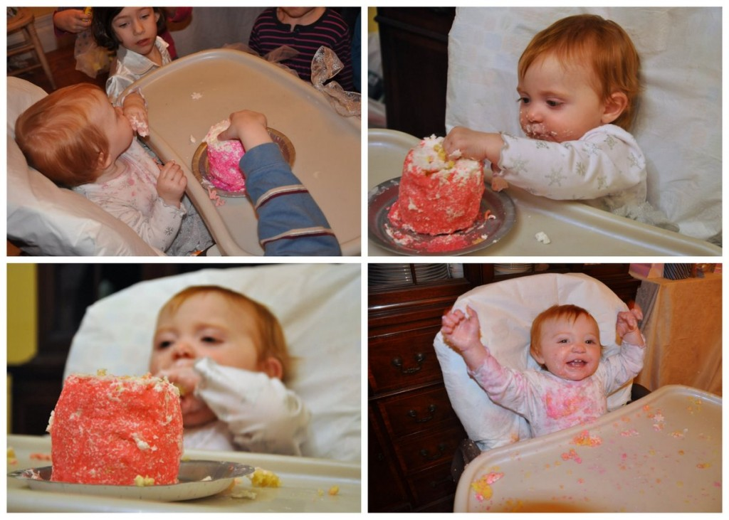 1st Birthday winter snowflake sparkle party smash cake