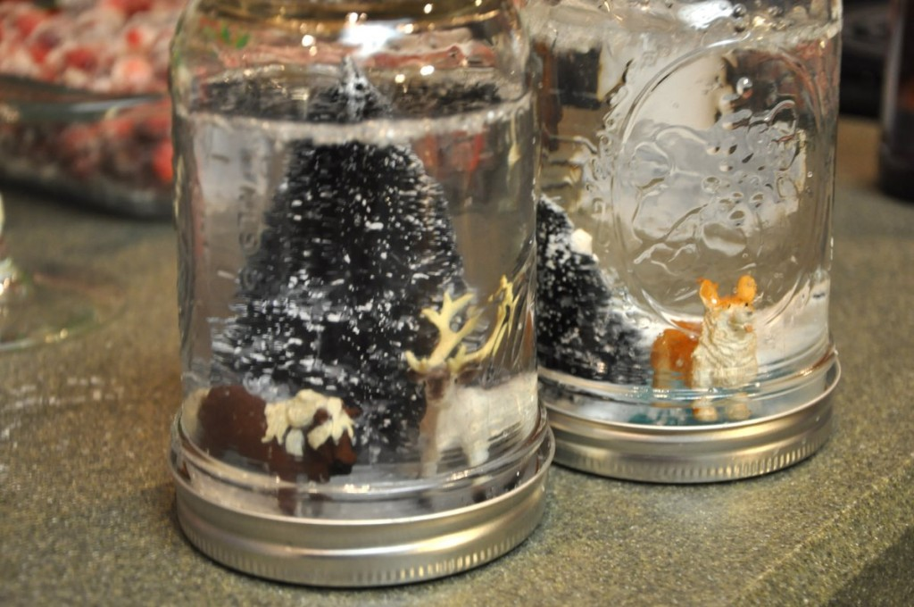 winter sparkle snowflake first birthday party DIY snowglobes