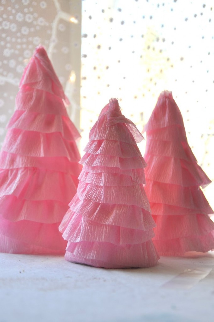 winter sparkle snowflake first birthday party crepe paper christmas trees