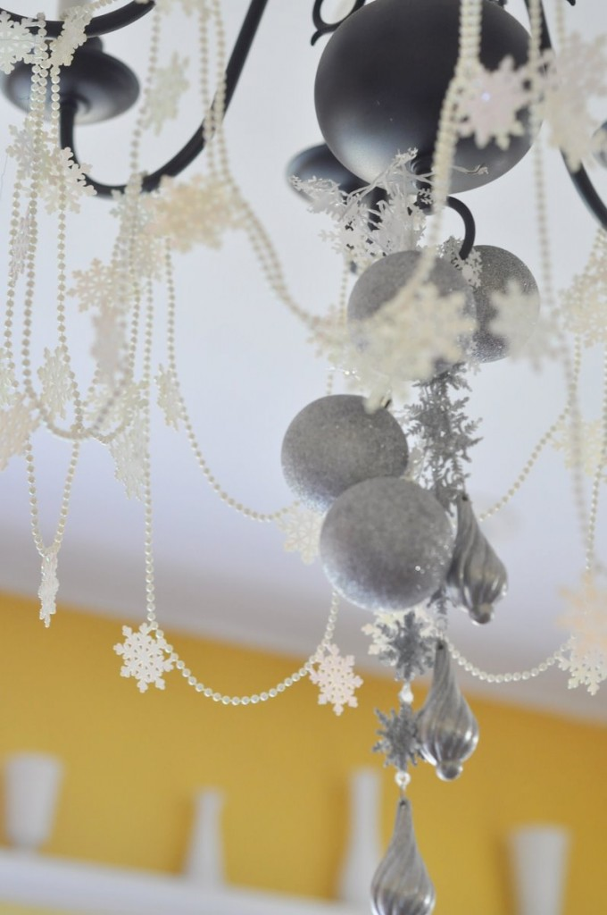 winter sparkle snowflake first birthday party chandelier