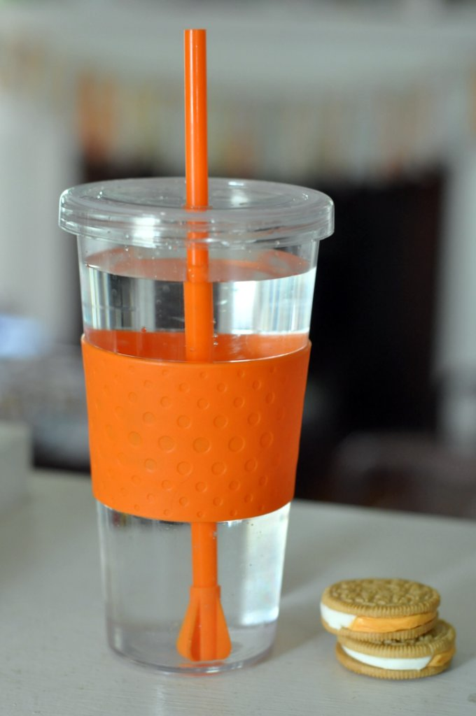 orange straw cup drink more water