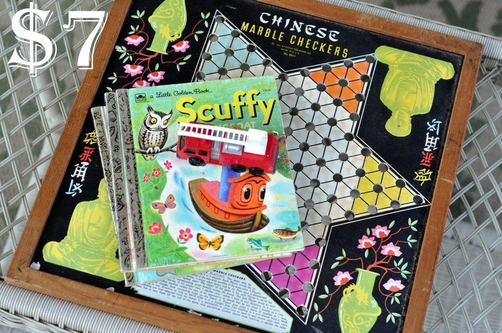 flea market finds little golden books tonka chineese checkers