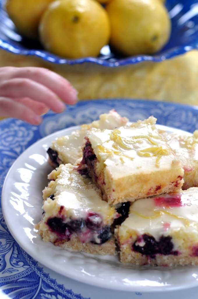 lemon blueberry bars with coconut crust