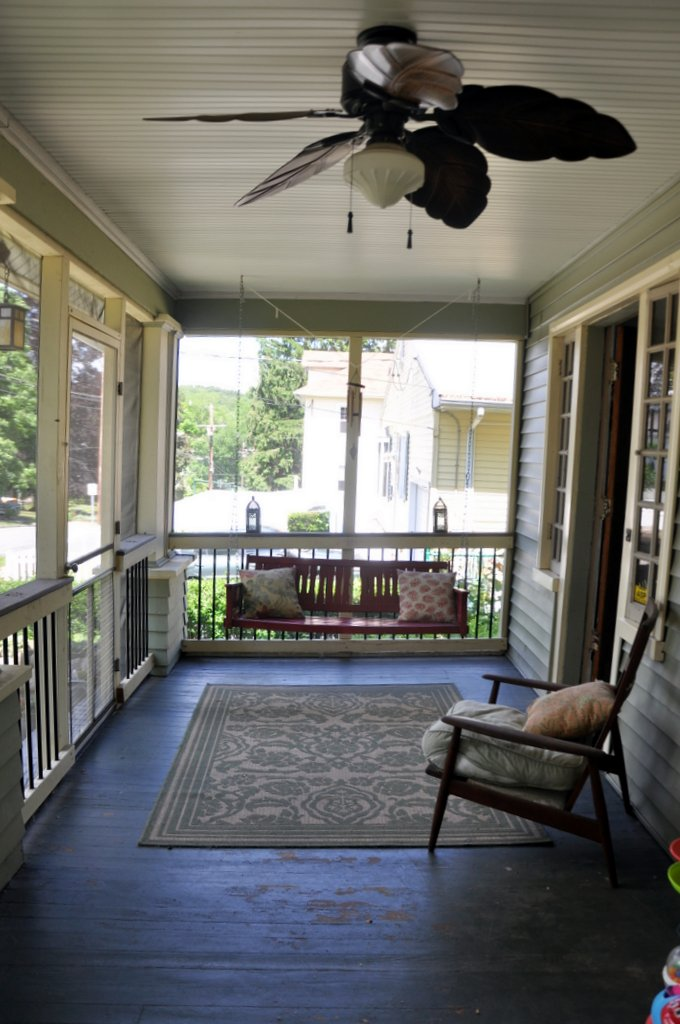 screened front porch swing