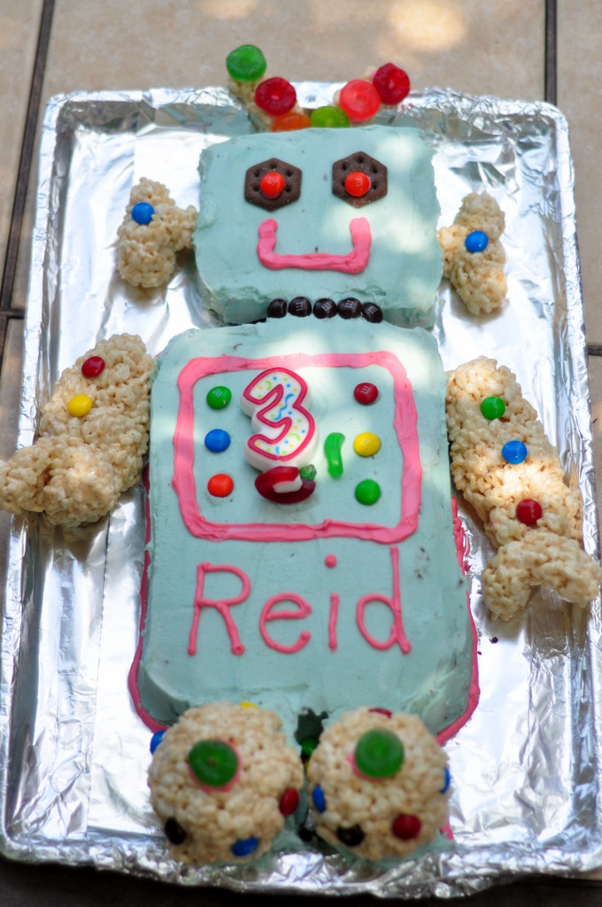 robot birthday party food robot cake