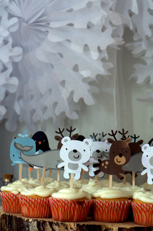 winter animal cupcake toppers