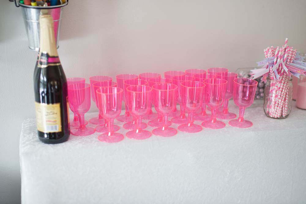 Fancy pink goblets to drink sparkling cider (from Oriental Trading Co)