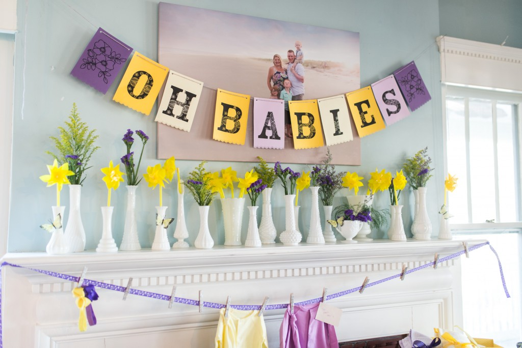 purple and yellow baby shower twins