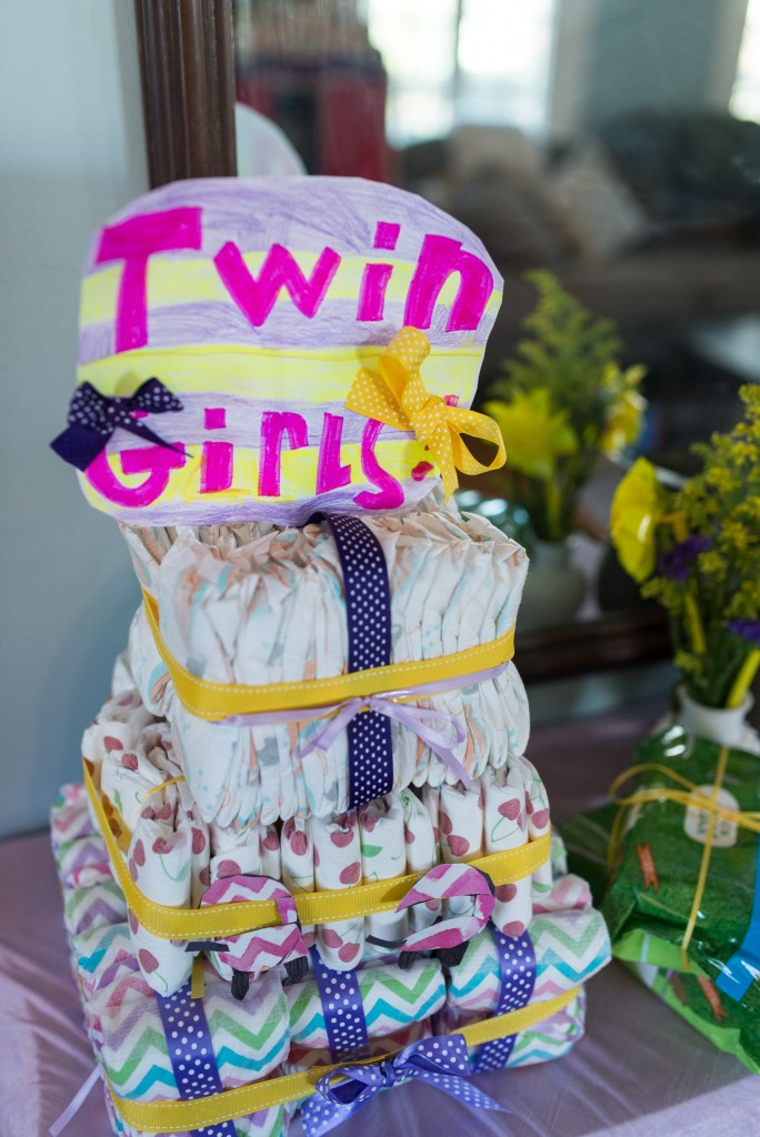 purple and yellow baby shower twins-4