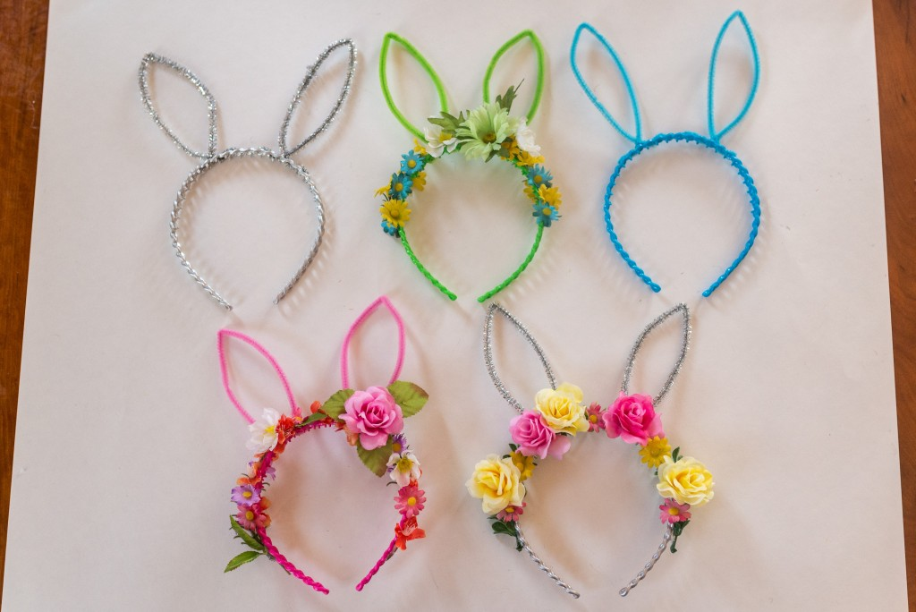 DIY bunny ears flower crown headband-23