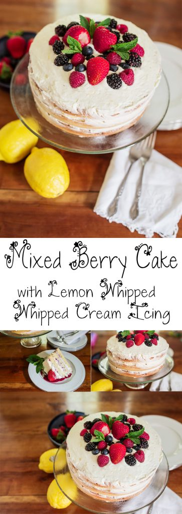 Mixed Berry Cake With Lemon Whipped Cream Icing YUM!