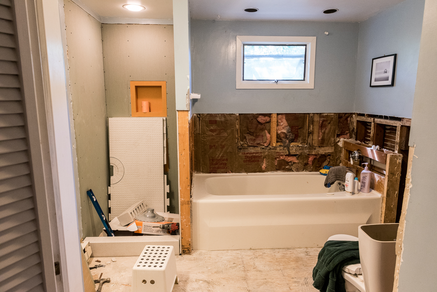 bathroom remodel during