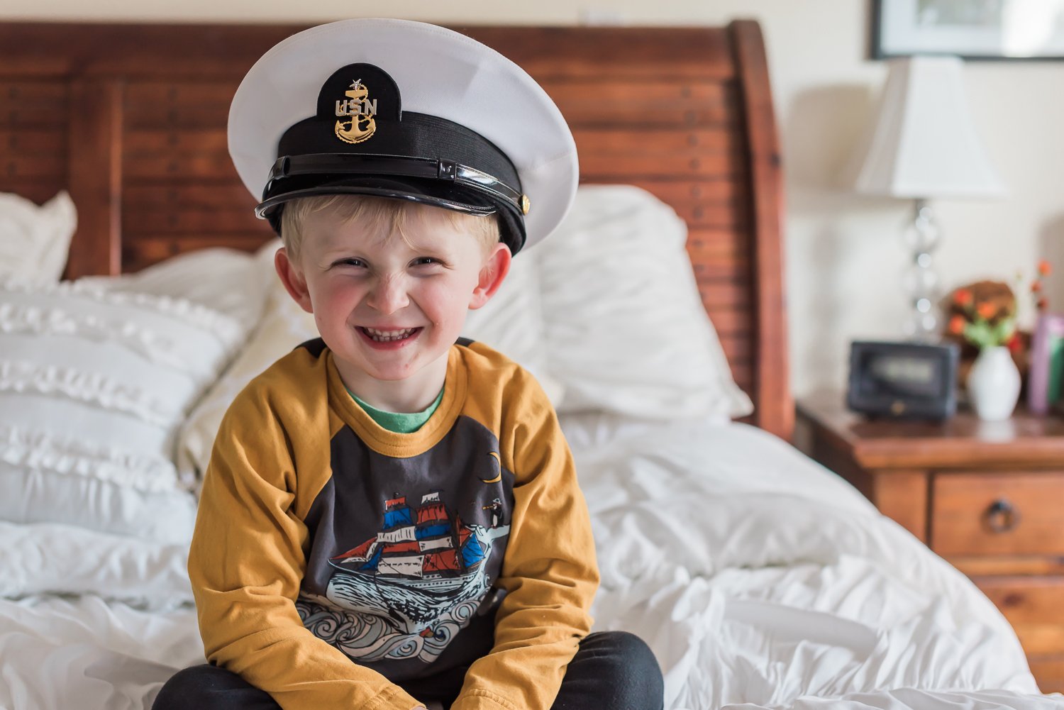 start strong stay strong boy in dress uniform hat